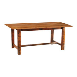 "Fireside Lodge - Reclaimed Wood Farm Table Standard Finish 60""L x 42""W x 36""H - A counter height reclaimed wood farm table perfect for your western or coastal decor. Naturally-aged, sun-drenched red oak, originally used in a  barn in the 1800s forms the beautiful table top. Sturdy post legs, also built from reclaimed wood, support the weight of the table. This taller counter height table uses bar stools for seating. The colors and textures of your rustic barnwood table are protected by a natural clear-coat finish and a manufacturer's warranty."