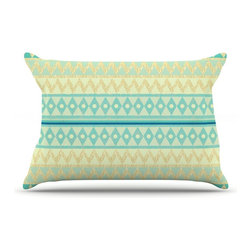"Kess InHouse - Nika Martinez ""Glitter Chevron in Teal"" Blue Pattern Pillow Case, King (36"" x 20 - This pillowcase, is just as bunny soft as the Kess InHouse duvet. It's made of microfiber velvety fleece. This machine washable fleece pillow case is the perfect accent to any duvet. Be your Bed's Curator."