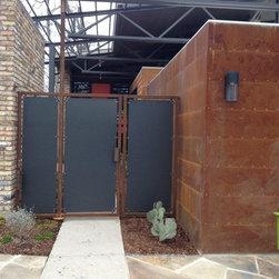 Gates & Fences - Rusty Barn Tin Fence & Revolving Gate