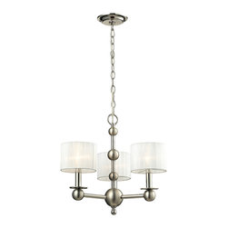 Elk Lighting - Elk Lighting Meridian Collection 3 Light Chandelier In Polished Nickel/Matte Nic - The Meridian collection offers modern styling with everlasting appeal portrayed through the classic sphere elements.  A two-tone Polished and Matte Nickel frame contrasts nicely with white sheer drum shades for a tasteful flair.