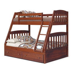 Chelsea Home Furniture - Chelsea Home Twin Over Full Mission Bunk Bed with Under Bed Storage in Dark - Providing home elegance in upholstery products such as recliners, stationary upholstery, leather, and accent furniture including chairs, chaises, and benches is the most important part of Chelsea Home Furniture's operations. Bringing high quality, classic and traditional designs that remain fresh for generations to customers' homes is no burden, but a love for hospitality and home beauty. The majority of Chelsea Home Furniture's products are made in the USA, while all are sought after throughout the industry and will remain a staple in home furnishings.