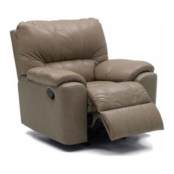 Palliser - Palliser Yale Rocker Recliner Chair - Time with family and friends is well spent when you have a welcoming place to come home to. Seating solutions for even the most challenging spaces provide you with more time to get together. In this one-size-fits-all world. Palliser offers a sensible user friendly selection of designs - not to overwhelm you but plenty to guarantee you'll find yourself. Don't settle. With the limitless cover color selection and exceptional value of Palliser Furniture you don't have to. Start your search find a favorite (or two!) and have fun! Furniture made right... simple sounding but harder to find these days. At Palliser right is more than a saying even a promise. It's at the heart of their DNA. Right starts with their people a workforce as important to Palliser as the products and customers they serve. These values have been passed down through the decades by a family legacy started 70 years ago. Right is why they craft their furniture here at home in North America with a commitment to sustainability fueled by their strong sense of community. Right means well thought out designs executed with care a focus on quality and delivered in a timely fashion. Features include Custom-made and hand-crafted Choose from broad seleciton of high quality leathers and fabrics available in a wide palette of colors to perfectly complement your home. Frame constructed of kiln-dried hardwood softwood and engineered wood products; all joints are pinned & glued for uniformity & strength. Seat support features 8 gauge sinuous wire springs for superior ride and comfort Seat cushions feature high resilience high-density foam for years of added comfort and durability. 39 inch seat back Back support features 11 or 12 gauge sinuous springs engineered to provide lasting comfort and strength Back is filled with blown fibre for comfort. Latch Motion Control Chaise footrest Rocker Recliner High density high resilience seat foam. Specifications Frame Construction: Frame constructed of kiln-dried hardwood softwood and engineered wood products; all joints are pinned & glued for uniformity & strength. Seat Support: 8 gauge sinuous wire springs for superior ride and comfort Back Support: 11 or 12 gauge sinuous springs engineered to provide lasting comfort and strength Power Required: No Reclining Mechanism: Rocker Recliner Recliner Control: Latch Footrest Design: Chaise Nailhead: No Eco Friendly: Yes Console: No Arm Style: Pillow Top Arms Back Style: Pub Back Seat Back Height: 39 inch.