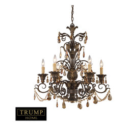 Trump Home 6 Light Chandelier with Amber Crystal 3344/6 - Individuality is what defines this exquisite line of hand-blown glass. This ancient technique of fine craftsmanship ensures that quality and originality is at the heart of every piece. Each piece is meticulously hand-blown with up to three layers of uncompromising beauty and style. This art is performed only by skilled craftsmen who uphold the highest standards to ensure a unique identity throughout each layer. The special technique of layering allows light to spread evenly across the glass resulting in a warm glow over the entire surface. Rochelle Is A Magnificent Collection Featuring Elegant Amber Crystal Highlights, Scrolling Weathered Mahogany Finished Ironwork And Intricate Castings. Incorporating Elements Of Renaissance Design With Graceful Proportions, Rochelle Reflects Regal Design And Classic Appeal.