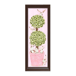 "Doodlefish - Bunny Topiary in Brown Frame - Mounted Giclee of cute bunnies and a topiary in a pink decorative pot. The piece is finished 14"" x 40"" in your choice of frames.  It is also available as a 12"" x 36"" Stretched Canvas."