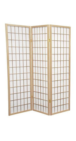 Oriental Furniture - 5 ft. Tall Window Pane Shoji Screen - Natural - 3 Panels - A modern take on a classic Japanese design, this Shoji screen is one of our most popular room dividers. Hand constructed from fiber-reinforced Shoji rice paper and Scandinavian spruce, these allow diffused light without sacrificing privacy. The simple, elegant design fits in with any style of home furnishing and is perfect for sectioning off part of a room, keeping things removed from sight, or even just adding an East Asian accent to your decor.