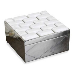 Interlude Home - Interlude Home Malta Marble Box - This Interlude Home Marble Box is crafted from Metal and Marble and finished in Polished and Cream.  Overall size is:  8 in. W  x  8 in. D x 5 in. H.