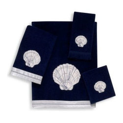Avanti - Avanti Big Shell Bath Towel in Indigo - Simple yet sophisticated, the luxurious Big Shell Indigo Towel Collection is a standout. Beautiful silver shell embroidery pops against a contrasting rich blue velour background.