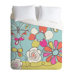DENY Designs - Rachael Taylor Fun Floral Duvet Cover - Turn your basic, boring down comforter into the super stylish focal point of your bedroom. Our Luxe Duvet is made from a heavy-weight luxurious woven polyester with a 50% cotton/50% polyester cream bottom. It also includes a hidden zipper with interior corner ties to secure your comforter. it's comfy, fade-resistant, and custom printed for each and every customer.