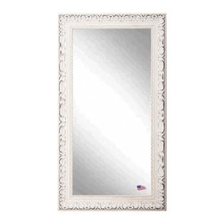 Rayne Mirrors - American Made Romantic French Victorian White Full Length Mirror - Add some romantic reflection to you decor with this distressed ivory, French Victorian style full length mirror.   The carved detailing and  old time worn white finishes wonderfully replicates design from the Victorian era.  Perfect to hang or lean.  Rayne's American Made standard of quality includes; metal reinforced frame corner  support, both vertical and horizontal hanging hardware installed and a manufacturers warranty.