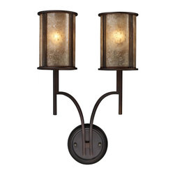 ELK Lighting - Two Light Aged Bronze Tan Mica Shade Wall Light - Two Light Aged Bronze Tan Mica Shade Wall Light