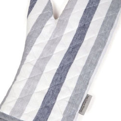 The Linen Works - Biarritz Linen Oven Glove - Form and function.   100% linen oven glove with a heatproof lining in the beautiful blue Biarritz stripes.
