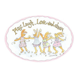 Stupell Industries - Laugh Play Love and Dream Bunnies Oval Wall Plaque - Made in USA. MDF Fiberboard. Hand finished and packed. Approx. 11 in. W x 15 in. L. 0.5 in. ThickThe Kids Room by Stupell features exceptional handcrafted wall decor for children of all ages.  Using original art designed by in-house artists, all pieces feature hand painted and grooved borders as well as colorful grosgrain ribbon for hanging.  Made in the USA, everything found in The Kids Room by Stupell exudes extraordinary detail with crisp vibrant color. Whether you are looking for one piece to match an existing room's theme, or looking for a series to bring the kid's room to life, you will most definitely find what you are looking for in The Kids Room by Stupell.