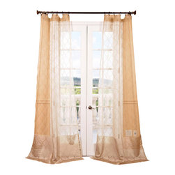"Exclusive Fabrics & Furnishings, LLC - Palazzo Gold Banded Sheer Curtain - 100% Polyester. 3"" Pole Pocket. Imported. Dry Clean Only."