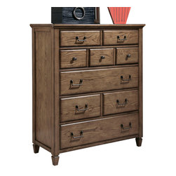 American Drew - American Drew Americana Home 5 Drawer Chest in Warm Oak - Americana Home is a casual, life style grouping with an eclectic mix of design elements and materials. This collection is truly inspired by American and iconic destinations from coast to coast. Americana Home captures design elements from country, lodge, cottage, coastal and even more urban loft/industrial looks. This unique collection brings a sense of timeless and comfortable places that span from the coast to the mountains of America. The Neutral pallet offered by the simplistic styling and casual finish allow this collection to take own many design trends and consumer's personal flavor. Americana Home will be at home in almost any setting.