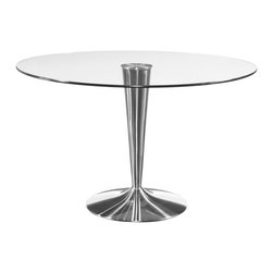 Bassett Mirror Company - Bassett Mirror Concorde Round Glass Dining Table w/ Chrome Base - Round Glass Dining Table w/ Chrome Base belongs to Concorde Collection by Bassett Mirror Company Bassett Mirror Co. Concorde Round Stainless Dining Base From sleek, contemporary lines to classic designs with timeless appeal. Brushed chrome base with fused glass top. Table Base (1) , Table Top (1)