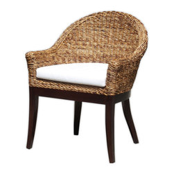 Marco Polo Imports - Bali Arm Chair with Cushion - This elegant and comfortable chair combines sophisticated tropical design with contemporary lines. It is made from all natural banana leaf and mango wood. Perfect for bringing the outdoors in.