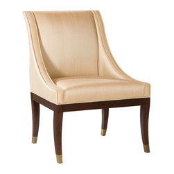 "Kathy Kuo Home - Gwinnett Fifties French Deco Soft Gold Dining Arm Chair - Offer a toast to high style and good design. This expertly constructed chair features silky champagne colored upholstery, gently swooping arms and chocolatey curved legs dipped in brass. Whether you're surrounding a dining table or using a pair as occasional seating, it's a great way to add ""Cheers!"" to your room."