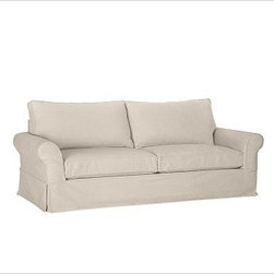 """PB Comfort Grand Sofa, Polyester Wrap Cushions, Washed Linen/Cotton Stone - Sink into the grand sofa just once, and you'll know how it got its name. Designed with even deeper seats than our regular PB Comfort Sofa, the eco-friendly grand sofa offers 10"""" of extra width, inviting a whole family to relax together. 93.5"""" w x 42"""" d x 39"""" h {{link path='pages/popups/PB-FG-Comfort-Roll-Arm-4.html' class='popup' width='720' height='800'}}View the dimension diagram for more information{{/link}}. {{link path='pages/popups/PB-FG-Comfort-Roll-Arm-6.html' class='popup' width='720' height='800'}}The fit & measuring guide should be read prior to placing your order{{/link}}. Choose polyester wrapped cushions for a tailored and neat look, or down-blend for a casual and relaxed look. Choice of knife-edged or box-style back cushions. Proudly made in America, {{link path='/stylehouse/videos/videos/pbq_v36_rel.html?cm_sp=Video_PIP-_-PBQUALITY-_-SUTTER_STREET' class='popup' width='950' height='300'}}view video{{/link}}. For shipping and return information, click on the shipping tab. When making your selection, see the Quick Ship and Special Order fabrics below. {{link path='pages/popups/PB-FG-Comfort-Roll-Arm-7.html' class='popup' width='720' height='800'}} Additional fabrics not shown below can be seen here{{/link}}. Please call 1.888.779.5176 to place your order for these additional fabrics."""