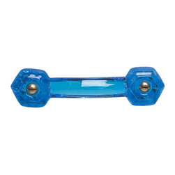 Renovators Supply - Cabinet Pulls Peacock Blue Glass Drawer Pull 3'' Boring Chr Screw - Glass Drawer Pulls. This clear glass pull has a 3 inch boring and comes with  chrome screws. This glass drawer pull is 4 1/4 inch long and projects 1 1/2 inch. Sold individually.