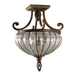 Uttermost - Galeana Semi-Flushmount by Uttermost - The Uttermost Galeana Semi-Flushmount was designed by Carolyn Kinder to add bright light and Old World elegance into a traditional space. The mouth-blown Seeded Water glass shade sparkles within a curvaceous iron frame, which features intricate woven details highlighted by the application of a rich Antique Saddle finish.Since 1975, Uttermost has made it their mission to make great home accessories at a reasonable price. From their headquarters in Rocky Mount, Virginia, Uttermost continues to meet this goal with sophistication and grace through their current line of quality, designer-driven lighting, home furnishings and accessories.The Uttermost Galeana Semi-Flushmount is available with the following:Details:Mouth-blown Seeded Water glass shadeIron frameAntique Saddle finishSquare ceiling canopyDesigned by Carolyn KinderLighting:Two 60 Watt 120 Volt Incandescent lamps (not included).Shipping:This item usually ships within five business days.