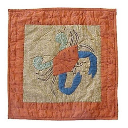 Patch Magic - Beach Critters Crab Toss Pillow - 16 in. W x 16 in. L. 100% Cotton. Machine washable.. Line or flat dry onlyDecorative applique Quilted Pillow.