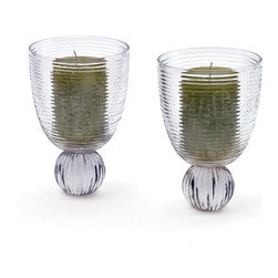 Go Home - Pair of Glass Austin Hurricanes - Lovely Austin Hurricanes has amazingly made with glass and has hand cut finish,sure it will add charm to your home decor use as candle holder.Sold as a Pair.