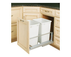 """Rev-A-Shelf - Rev-A-Shelf 5349-18DM-2 Double 35 Qt. Soft Close Pullout Waste Container - White - Now you can have beauty and organization in one. This Soft Close Waste Container is a perfect addition to any kitchen. The Double 35 Qt Bottom Mount Soft Close Pullout Waste Container is highly durable and supported by aluminum slides. It features two 35 Qt White waste containers and full extension soft close slides. You are now able to hide your trash in a built-in pullout unit that is convenient to use. And the best part, the containers are removable so cleaning underneath is a breeze. The Rev-A-Shelf 5349-18DM-2 unit includes everything you need to install it properly for optimum performance. After installation, simply mount your own beautiful matching cabinet door face to the included door mount kit and you're all set! Size Specs: 14-13/16"""" W x 21-7/8"""" D x 19-1/4"""" H. Please make sure your cabinet has a minimum opening of at least 15"""" W x 22-1/8"""" D x 19-1/2"""" H to ensure a proper fit."""