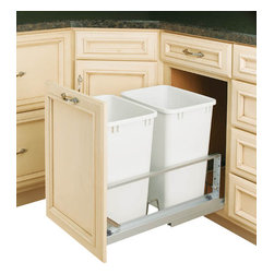 "Rev-A-Shelf - Rev-A-Shelf 5349-18DM-2 Double 35 Qt. Soft Close Pullout Waste Container - White - Now you can have beauty and organization in one. This Soft Close Waste Container is a perfect addition to any kitchen. The Double 35 Qt Bottom Mount Soft Close Pullout Waste Container is highly durable and supported by aluminum slides. It features two 35 Qt White waste containers and full extension soft close slides. You are now able to hide your trash in a built-in pullout unit that is convenient to use. And the best part, the containers are removable so cleaning underneath is a breeze. The Rev-A-Shelf 5349-18DM-2 unit includes everything you need to install it properly for optimum performance. After installation, simply mount your own beautiful matching cabinet door face to the included door mount kit and you're all set! Size Specs: 14-13/16"" W x 21-7/8"" D x 19-1/4"" H. Please make sure your cabinet has a minimum opening of at least 15"" W x 22-1/8"" D x 19-1/2"" H to ensure a proper fit."