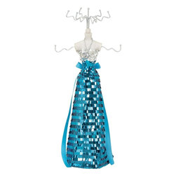 Benzara - Jewelry Holder Decked Up in Gown with Silver Blue Sequin - Brandish your fine jewelry pieces with this jewelry holder. Decked up in a gown with blue and silver sequins, this jewelry holder adds glamour to your dresser. Flaunting a sturdy construction, this jewelry holder is affixed to a wooden plank. Equipped with six hooks, you can store all your accessories in an orderly manner. Made out of wood, his jewelry holder ensures a prolonged shelf life and retains appearance. This jewelry holder has an eye catching design and looks pleasing to the eyes. Place it anywhere in the room to make your bedroom look lavish and stylish. Creating a focal point is easy with this jewelry holder in the room. This jewelry holder makes your dresser look clutter free and tidy. Ensuring lasting sheen, this jewelry holder is lacquered and made out of quality wood. This is a wonderful gifting option too.