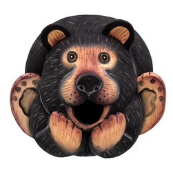 Songbird Essentials - Black Bear Gord-O Birdhouse - Songbird Essentials adds color & whimsy to any garden with our beautifully detailed wooden birdhouses that come ready to hang under the canopy of your trees. Hand-carved from albesia wood, a renewable resource, each birdhouse is hand painted with non-toxi