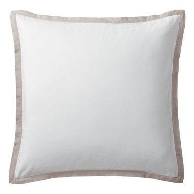 "Serena & Lily - Bark Border Frame Euro Sham - A clean, simple design for those who crave a quieter bed. Tailored from crisp white 300-thread-count 100% cotton sateen; finished with a 1"" flange in bark."