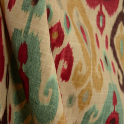 Richloom - Django Persian Ikat Pattern Drapery Fabric By The Yard - Richloom fabric Django in the color Persian is a stunning ikat fabric. Durable enough for light upholstery this fabric is also great for bedding, pillows and draperies.