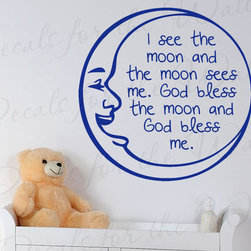 Decals for the Wall - Wall Quote Decal Vinyl Sticker Art Lettering Saying I see the moon Nursery B70 - This decal says ''I see the moon and the moon sees me. God bless the moon and God bless me.''