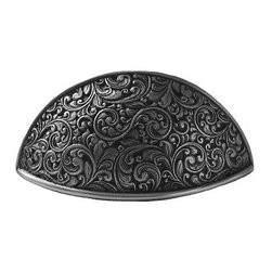 """Notting Hill - Notting Hill Saddleworth Bin Pull - Antique Pewter - Notting Hill Decorative Hardware creates distinctive, high-end decorative cabinet hardware. Our cabinet knobs and handles are hand-cast of solid fine pewter and bronze with a variety of finishes. Notting Hill's decorative kitchen hardware features classic designs with exceptional detail and craftsmanship. Our collections offer decorative knobs, pulls, bin pulls, hinge plates, cabinet backplates, and appliance pulls. Dimensions: 3-5/8"""" x 2"""", Center To Center: 3"""""""