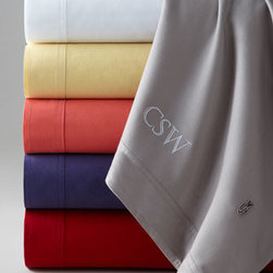 """Lacoste - Lacoste Full Sheet Set, Monogrammed - With the signature Lacoste crocodile logo adding preppy flair to the flat sheets and pillowcases, sheet sets of soft, brushed cotton twill are the perfect blend of sporty style and laid-back comfort. Each set includes flat sheet, 18"""" deep fitted sheet,...."""