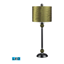 Dimond Lighting - Dimond Lighting Carrington Metal Buffet Lamp w/ Pleated Shade - Green - LED Offe - Metal Buffet Lamp w/ Pleated Shade - Green - LED Offering Up To 800 Lumens belongs to Carrington Collection by Dimond Lighting Buffet Lamp (1)