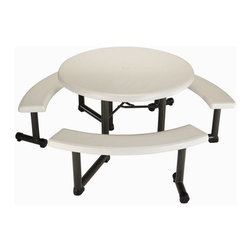 "Lifetime - Round Picnic Table - Features: -Picnic table.-Three swing-out benches for comfortable seating, designed to accommodate an umbrella.-Seats 6 people.-Durable, attractive, and flexible.-Outdoor dining; from backyards to restaurants.-Ensuring that they withstand the wear and tear of everyday use.-Ready to use, easy to clean and simple to maintain.-ADA Compliant.-Material: Powder-coated steel, HDPE Polyethylene plastic.-Top Material: High-density polyethylene plastic.-Number of Tables in Set (Quantity: 1): 1.-Number of Tables in Set (Quantity: 4): 4.-Number of Tables in Set (Quantity: 8): 8.-Finish: Almond.-Gloss Finish: No.-Weather Resistant or Weatherproof: Weather Resistant.-Water Resistant or Waterproof: Water Resistant.-UV Resistant: Yes.-Mildew Resistant: No.-Rust Resistant: Yes.-Glass Top: No.-Folding: Yes.-Table Leaf Included: No.-Stacking: No.-Fade Resistant: Yes.-Firepit Available: No.-Lazy Susan Included: No.-Distressed: No.-Eco-Friendly: No.-Hardware Material: Steel.-Recycled Content: No.Specifications: -FSC Certified Wood: No.-Greenguard Certified: No.Dimensions: -Overall Height - Top to Bottom: 29"".-Leg Height: 27.1"".-Leg Width - Side to Side: 2.3"".-Leg Depth - Front to Back: 2.3"".-Umbrella Hole Diameter: 2"".-Overall Product Weight: 65 lbs.Assembly: -Assembly Required: Yes.-Tools Needed: Screwdriver, 5/16"" Wrench.-Additional Parts Required: No.Warranty: -2-year limited warranty.-Product Warranty: 2 year limited warranty."