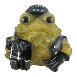 Zeckos - 6 Inch Light Green Toad Hollow Biker Frog Solar Light Garden Decor - This 6 inch tall biker toad solar light was truly Born To Ride. He wears a black leather jacket, leather pants, black do-rag and has his front leg resting on a saddlebag. He even has a chain wallet in his back pocket. The back of his leather jacket reads 'Toad Hollow Cycle Works'. During the day, he's a regular statue, but at night, the flickering solar light turns on, and illuminates his light green body with bright white light. Made of cold cast resin, the toad measures 6 1/4 inches tall, 7 inches wide and 9 inches deep, including the solar collector panel. He's hand-painted, and shows great detail. he makes a wonderful gift for any frog lover or biker.