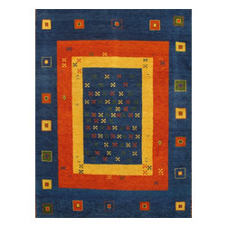 Pasargad - Pasargad'S Gabbeh Collection Wool Kids Room Rug Size: 5'10'X8' - This beautiful fun colors hand knotted wool Gabbeh design rug would be ideal for kids room, plush pile cotton foundation adds more durability to this rug