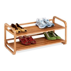 2-Tier Stackable Bamboo Shoe Shelf - Honey-Can-Do SHO-01633 2-Tier Bamboo Shoe Rack.  This eco-friendly bamboo shelving unit is the perfect combination of function, versatility, and style. The gorgeous, natural finish is a stunning addition to any decor. The unit can display 6-8 pairs of shoes beautifully, and more for smaller sizes. Open slats allow air circulation but are close enough together to hold other items such bags or books. Durable bamboo is also moisture resistant, making this a great storage solution for baskets or towels in a spa-style bathroom.