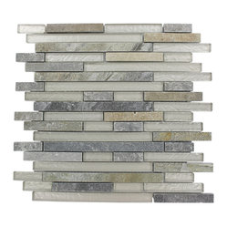 Geological Tao Quartz Slate & WG Glass Tiles, Sheet