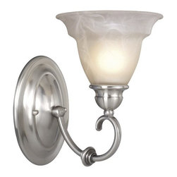 Vaxcel Lighting - Vaxcel Lighting Omni Traditional Wall Sconce X-NS100ULV-MO - It doesn't get much simpler than this Vaxcel Lighting Omni Traditional Wall Sconce. It has a frame in a sleek and smooth, satin nickel finish with a round back plate: a gently curved arm and a shapely, alabaster glass shade. It's a piece that can be mounted up or down, and one that will provide an air of simple elegance in any room.