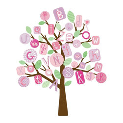 York Wallcoverings - Pink Alphabet Tree Large Self-Stick Wall Accent Set - Features: