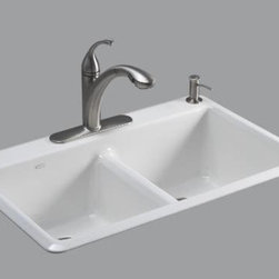 "Kohler - Kohler K-5840-1-0 White Anthem Anthem 33"" Double Basin Top-Mount - Product Features:Double basin sink with a 50/50 split provides increased versatility for any taskCovered under Kohler s limited lifetime warrantyThe clean, modern design of Anthem makes it a universal fit for any kitchenA slightly lowered divide between the two equally sized basins helps minimize splashing and makes it convenient to transfer bulky items between bowlsConstructed of enameled cast-iron which combines strength, durability and insulation benefitsTop-mount installation makes for a quick and easy install wile keeping the elegant you craveRear drain location increases workspace area in the sink as well as storage area underneathAll hardware needed for installation includedProduct Technologies / Benefits:Enameled Cast-Iron:  Kohler Enameled Cast-Iron combines the strength, durability, and insulation benefits of cast-iron with the scratch, chip, and burn resistance of a baked, powder coat finish and comes with an exceptional Lifetime Limited Warranty. When these materials are combined it gives the sink or tub the strength to last a lifetime of use. Kohler Enameled Cast-Iron is also available in a wide variety of specialty colors allowing you to truly customize your home.Product Specifications:Height: 9-5/8"" (measured from the bottom of the sink to the top most point of the sink)Overall Width: 22"" (measured from the back outer rim to the front outer rim)Overall Length: 33"" (measured from the left outer rim to the right outer rim)Basin Width: 16-1/8"" (measured from the back inner rim to the front inner rim)Basin Length: 14"" (measured from the left inner rim to the right inner rim)Basin Depth: 9"" (measured from center of the basin to the rim)Installation Type: Top-mountNumber of Faucet Holes: 1Drain Outlet Connec"