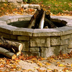 "Rosetta Belvedere Firepit - Belvedere wet-cast concrete firepit and steel ring kit from Rosetta of Michigan. Constructed with Belvedere wall units in both 3"" and 6"" sizes for a random ashlar stone appearance. Construction instructions included, this firepit is offered in 3 colors."