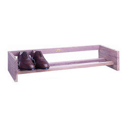 Woodlore - Large Cedar Shoe Rack in Natural Finish - Holds 4 pairs of men's or 5 pairs of women's shoes. Shoes can face toward or away from the front of the rack. Aromatic Cedar, with its distinct fragrance helps repel insects and keeps closets and drawers smelling naturally fresh. Light sanding of the Cedar rejuvenates the natural aromatic scent. No assembly required. 38 in. W x 12 in. D x 5.5 in. H (5 lbs.)Simple, sleek and stackable, our Cedar racks organize and store shoes while giving your closet a fresh scent.