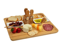 Picnic at Ascot - Sherborne Cheese Board Set - Bamboo serving tray with a section for bread & crackers and a section for cheese. Includes two ceramic olive motif dishes with small bamboo serving spoons, and four stainless steel cheese tools which attach to the center magnetic block. Serving tray includes an attractive juice groove detail in front and carved inset in back.