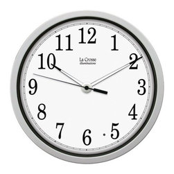 "La Crosse Technologies - Illuminated 12in Clock Wht - 12"" Plastic frame with the latest LED Illumination. Hour & minute hands automatically shuts off during the daytime to save battery life and has high quality quartz movement. Can use low discharging rechargeable batteries. Manual set time.  This item cannot be shipped to APO/FPO addresses. Please accept our apologies."