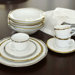 Caroline 20-Piece Dinnerware Set, Gold - I'm loving these gold-rimmed dishes too. They are classic and can easily be dressed up or down. I love the modern element of the rippled edge.