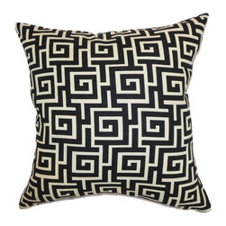"The Pillow Collection - Warder Greek Key Pillow Black Creme 18"" x 18"" - Create a sophisticated and unique decor style by using this exquisite throw pillow. This square pillow provides depth to your living room or bedroom with its classic Greek key pattern in shades of black and creme. Lend a classy look to your interiors by layering this accent pillow with solids. This beautifully crafted 18"" pillow is made from 100% soft cotton fabric. Hidden zipper closure for easy cover removal.  Knife edge finish on all four sides.  Reversible pillow with the same fabric on the back side.  Spot cleaning suggested."